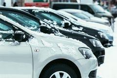 Autos bedeckt mit frischem weißem Schnee in der Winterzeit Lizenzfreies Stockfoto