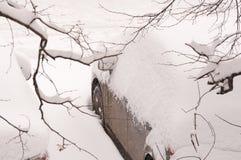 Autos bedeckt mit Schnee im Parkplatz während der Schneefälle Stockbild