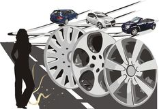 Autos. Darstellung. Vektor stock abbildung