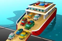 Autos in den Ferien, die in eine große Fähre einsteigen Lizenzfreies Stockfoto