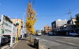 Autos, die auf Straße am Herbst in Kyoto, Japan laufen lizenzfreies stockfoto