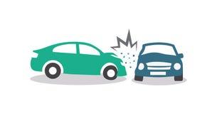 Autos haben Zusammenstoß mit großer Drehzahl auf gefrorener Datenbahn stock abbildung