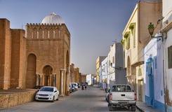 Autos near ancient Great Mosque, Kairouan, Sahara Desert, Tunisi Stock Images