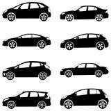 Autos silhouettieren Set Stockfotografie
