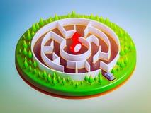 Autos sind im Begriff, das Labyrinth zu betreten Stockbild