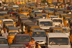 Autos and two wheelers waiting in a traffic. Cars auto two wheelers waiting for signal in a traffic  chennai india Stock Image