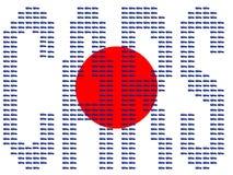 Autos und japanische Markierungsfahne Stockfoto