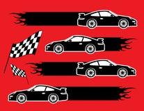 Autos und Markierungsfahnen Lizenzfreie Stockfotografie
