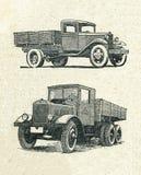 Autos, Weinlese gravierten Illustration lizenzfreie abbildung