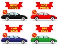 Autosalon Großer Verkauf Heißer Preis Satz Rabattikonen für Autos Farbiges Business-Class-Automobil lokalisiert auf Weiß