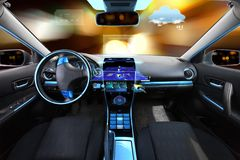 Autosalon met navigatiesysteem en meteosensoren Stock Foto's