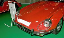Autosalon Slovacchia 2014 - Jaguar rosso Fotografia Stock