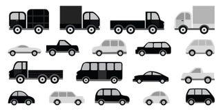 Autosammlung (Schwarzes u. Weiß) Lizenzfreie Stockbilder