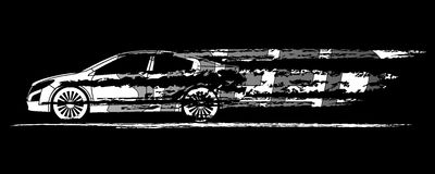 Autoschattenbild, welches die Geschwindigkeit auf einem weißen Hintergrund symbolisiert Vecto Lizenzfreie Stockfotografie