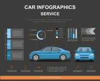 Autoselbstservice infographics Design Geschäft infographic mit Auto lizenzfreies stockfoto