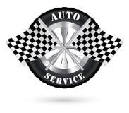 Autoselbstservice-Logo mit dem Laufen der Flagge Lizenzfreies Stockfoto