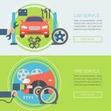 Autoservice-Ebenenikonen Konzepte für Netzfahnen Lizenzfreie Stockfotografie