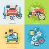 Autoservice-Ebenenikonen Konzepte für Netzfahnen Stockbilder