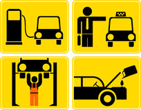 Autoservice, fuel station, change motor oil, taxi Stock Images