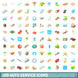 100 autoservice icons set, cartoon style Stock Photo