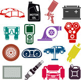 Autoservice-Ikonen in der Farbe Stockfotografie