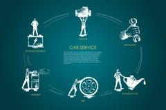 Autoservice - Selbstelektronik, Malerei, Reifen, Änderung des Öls, Mechaniker, Bewegungsvektor-Konzeptsatz stock abbildung