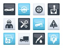 Autoservices und Transportikonen über Farbhintergrund stock abbildung