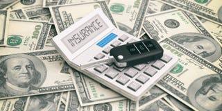 Autosleutel en calculator op de achtergrond van dollarsbankbiljetten 3D Illustratie Stock Afbeelding