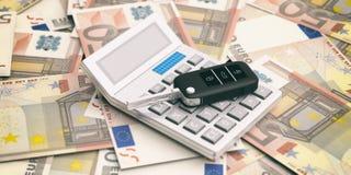 Autosleutel en calculator op de achtergrond van eurobankbiljetten 3D Illustratie Stock Fotografie