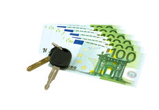 Autosleutels op euro bankbiljetten Stock Foto