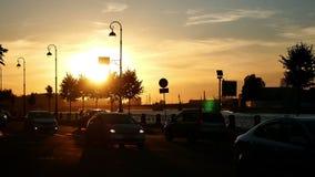 Autostadt-Sonnenuntergangstraße
