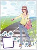 Autostop κορίτσι Δρόμος Καλοκαίρι Στοκ εικόνα με δικαίωμα ελεύθερης χρήσης