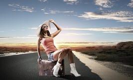 Autostop het reizen Royalty-vrije Stock Afbeelding