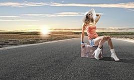 Autostop het reizen Royalty-vrije Stock Foto's