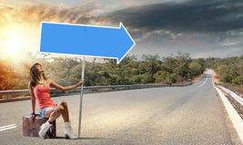 Autostop het reizen Stock Afbeelding