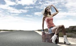 Autostop het reizen Stock Afbeeldingen
