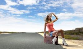 Autostop het reizen Stock Foto's