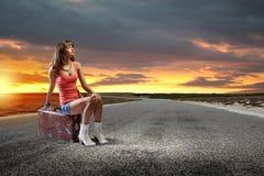 Autostop podróż Obrazy Royalty Free
