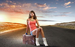 Autostop podróż Fotografia Stock