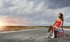 Autostop podróż Fotografia Royalty Free