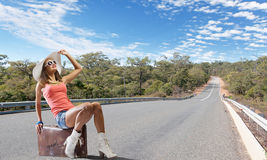 Autostop podróżować Zdjęcia Stock