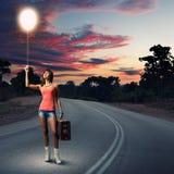 Autostop podróżować Fotografia Royalty Free
