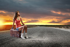 Autostop travel Royalty Free Stock Images
