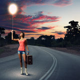 Autostop Traveling Royalty Free Stock Photography