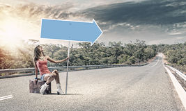 Autostop traveling Royalty Free Stock Photo