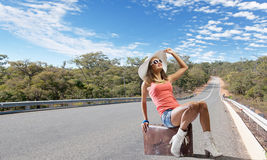 Autostop traveling Stock Photos