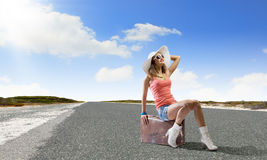 Autostop traveling Royalty Free Stock Image