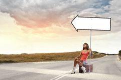 Autostop traveling Royalty Free Stock Photo