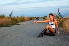 autostopkvinnor Arkivbilder