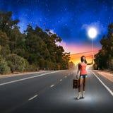 Autostopresande Fotografering för Bildbyråer